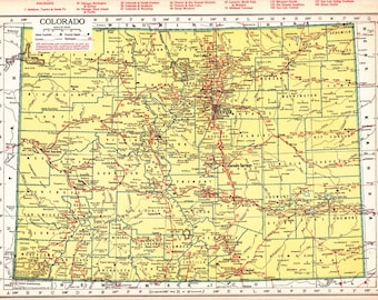 old map of Colorado from the 1940's, with Connecticut on the flip side, unique gift and home decor