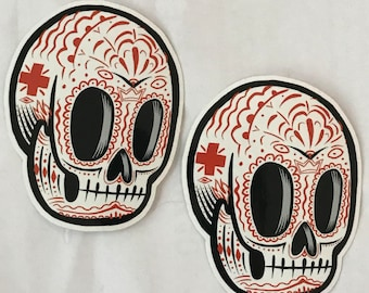 Sugar Skull Sticker - Outsider art by Kevin Kosmicki (2 pack)