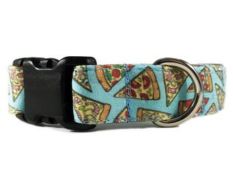 Blue Pizza Dog Collar Gift For Pizza Lover by Oh My Paw'd
