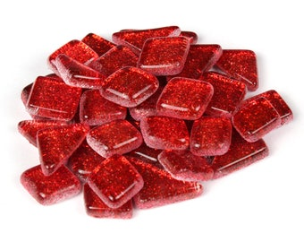Red Glitter Mosaic Tile Pieces - Bulk Sparkle Mosaic Tiles - Shimmer Tile Assortment - Bright Vibrant Red