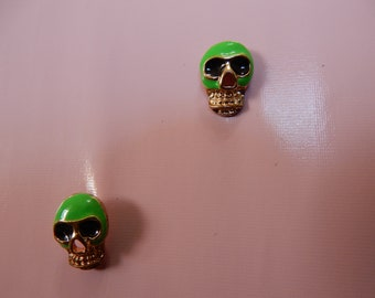 Tiny green skull earrings