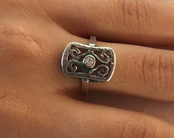 Zircon silver ring, Sterling silver ring, White zircon silver ring, Silver zircon ring, Bohemian style ring, Square zircon silver ring,