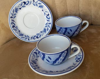 Tea Cups and Saucers, Blue and white cups, Centrum Pattern CXM4, 4 pieces made in China.  Vintage tea set