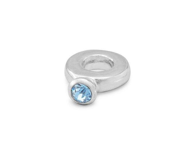 Featured listing image: Blue Crystal Ring Charm Bead Sterling Silver Large Hole December