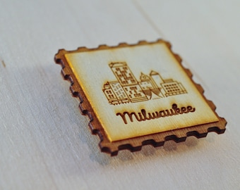 WI Stamp Magnets  | Milwaukee, Wisconsin souvenirs | Little wood etch magnets