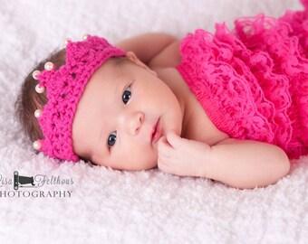 Crochet crown, Baby girl, Newborn headband crown, Baby girl headband, Newborn photo prop, Baby shower gift, Headband baby, baby girl crown