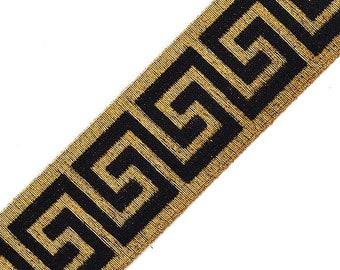 "2"" Greek Key Elastic Stretch Band Ribbon Trim for headband, hand band and waist belt, 1 yard, TR-11348"