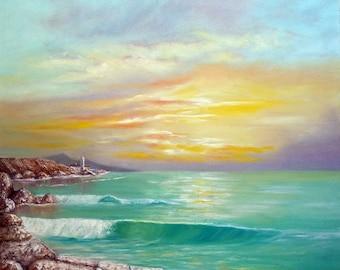 Sunset on the Sea oil painting painting sea seascape