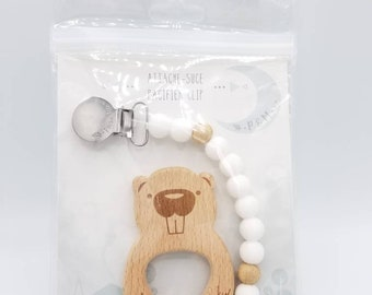 Duo attached pacifier and toy in white Beaver teether - pacifier clip duo with wooden teether in white beaver