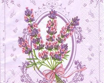 4 Decoupage Napkins, Paper Napkin for Decoupage, Lavender, Craft Napkin, Lavender Napkin, Decoupage Napkin, Decoupage Paper