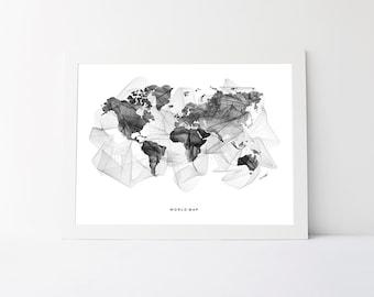 Geometric world map etsy world map black and gumiabroncs Choice Image