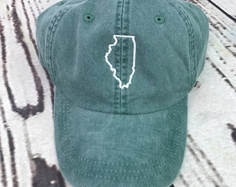 Illinois hat, State of Illinois baseball hat, Illinois baseball cap, Pigment dyed hat, State outline hat, Gameday hat, State outline