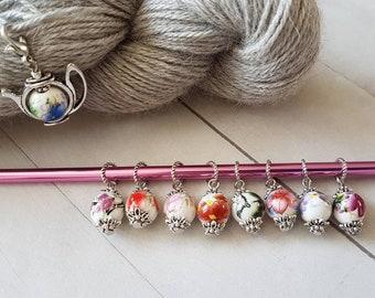 9-piece Ceramic Bead  Floral Tea Set inspired, Progress Keeper Stitch marker set Knit Crochet CS915