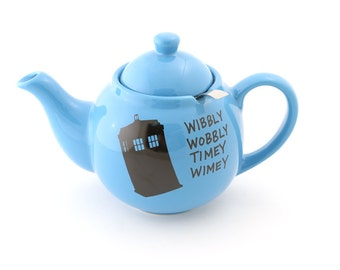 Doctor Who,  Dr. Who, TARDIS teapot, teapot and metal strainer, wibbly wobbley timey wimey, Whovian, large teapot
