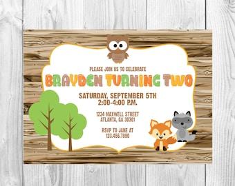 Woodland Birthday Party Invitation >> Forest Animals Birthday Party Invite  >>  Fox/Owl/Raccoon >> Rustic << Custom Printable Digital File