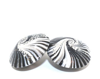 Black n white swirl beads for birthday necklace jewelry making ideas Valentines DIY gift for friends men women polymer clay Christmas  2pcs
