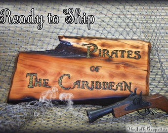 Pirates of the Caribbean Sign, Pirate Decor, Pirate Sign, Gift for Him, Man Cave, Disneyland Pirates of the Caribbean, Ready to Ship, OOAK