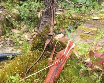 Realistic miniature bow , scale / 12, with quiver and arrows.