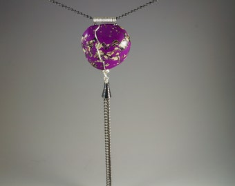 Long Tassel Necklace - Wire Wrapped Black Pink Purple Silver Cream Heart - Two Ball Chains No. 185