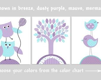Aqua and Purple Nursery Art, Owl Nursery, Baby Girl Decor, Bird Nursery Art, Baby Girl Wall Art, Nursery Wall Art, Nursery Wall Decor