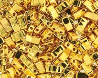 Miyuki Half Tila beads #TLH191 24kt gold plated 5g bag 2 hole