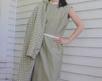 60s Polka Dot Jacket and Dress Mod Retro Green Julie Miller M