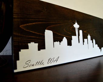 Seattle, Washington Skyline - Wood Sign - Seattle wall art