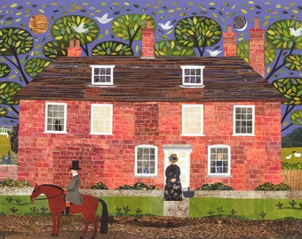 Jane Austen Greeting Card·Chawton Cottage·Writers' Houses·Booklovers Card·Amanda White Design·Literary Card·Pride and Prejudice·Garden·Horse