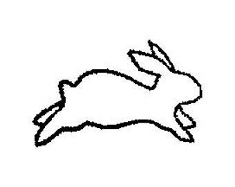 Hopping Bunny Rabbit Outline Rubber Stamp