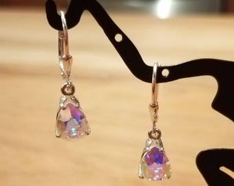 Custom 10x7mm Pear Swarovski and .925 Sterling Silver Lever-back Earrings - Pick your stone color