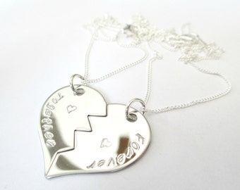 2 x Split Heart Necklaces - PERSONALISED