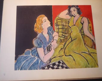 Matisse - The Conversation - art ephemera gift for art lovers modern art French framable 11 by 14 two women talking the chat