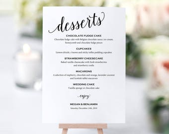 Wedding Dessert Menu Template, Dessert Menu Printable, Table Menu, Dessert Menu, Wedding Printable, PDF Instant Download, MM01-1