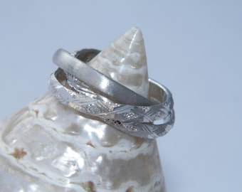 Hand Made.925Sterling Silver Interlocking Triple Band Rolling Ring Trinity Russian Wedding size -US 8.5