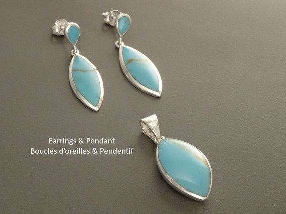 Turquoise Set, Earrings and Pendant Set, Blue Turquoise, Sterling Silver, Almond Shape, Bright Blue, Deep Black, Dainty Jewelry. Tribal,