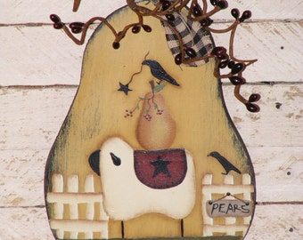 Primitive Wall Hanging-Wooden Pear cutout with picket fence,sheep, pear, & crows