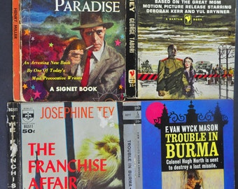 Pulp Fiction Paperback Book Covers. The Franchise Affair, Trouble in Burma, The Journey, A Devil in Paradise.. Altered Art, Collage.