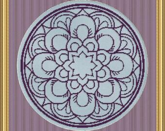 Cross Stitch Pattern Floral Medallion Monochrome No. 3 Single Color Design Instant Download PdF