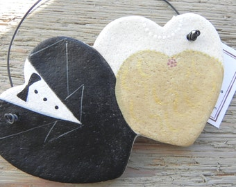 Double Heart Champagne Gold Bride and Groom Salt Dough Wedding Ornament