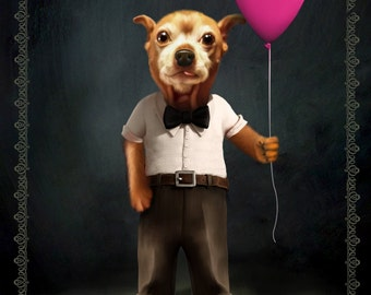 Custom Pet Portrait From your pet's photo - custom pet art, gift for pet lover, pet memorial, dog, cat, Custom digital portrait, pet print