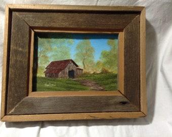 Barn scene oil painting g