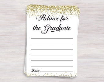 Advice for the Graduate Cards, Graduation Party Games, Graduation Advice, Gold Grad Party Decorations, Wishes for the Grad, Class of 2017