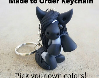 Pick Your Own Colours - Custom Polymer Clay Horse/Unicorn Keychain