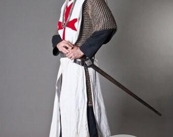 17% DISCOUNT! Knight Crusader Templar Medieval Tabard with Cross; sca cyclas; sca tabard; medieval tabard