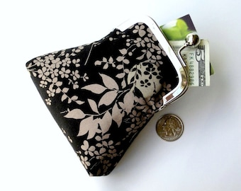 Japanese Cherry Blossom black and taupe floral purse...large cash credit card jewelry Rx purse...vegan cotton fabrics ... last one!
