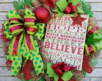 Merry Christmas Hope Believe Santa Claus Peace Wreath Holiday warm door hanger home decor.