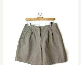 ON SALE Vintage Beige High Waist Cotton Flare Shorts/W28*