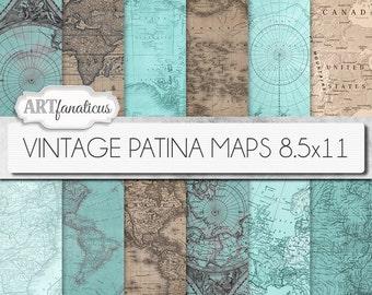 "Vintage maps 8.5x11 digital papers, ""VINTAGE PATINA MAPS 8.5x11"" backgrounds,patina,vintage map, world map, America, Europe, Asia, Australia"