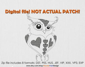 INSTANT DOWNLOAD - Lovely Owl machine embroidery design. Patterned Owl embroidery. Bird embroidery design. Embroidery file