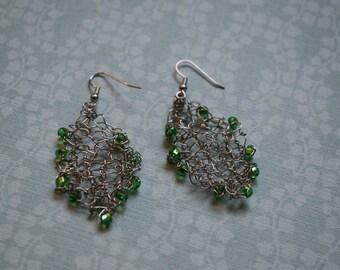 Green Beaded Wire Earrings, Handknit